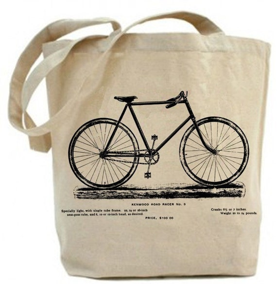 Free shipping in USA...Reycled  Tote - Vintage Bicycle