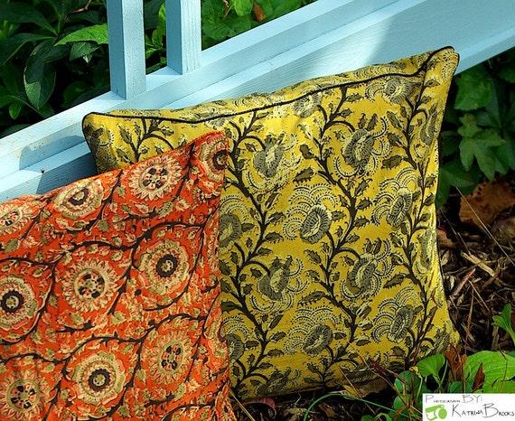 Hand-block Printed Cushion - Camel, Grey and Black - Ajrakh