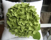 As Seen on ABC'S Good Morning America- Cream and Sage Green Hydrangea Pillow