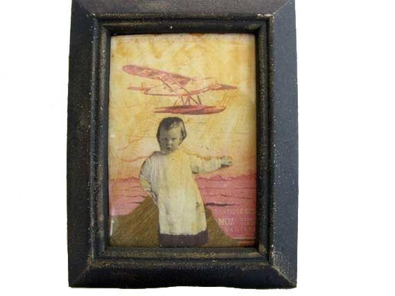 ACEO Orginal Artist Trading Card One  ATC Card  Of A Kind OOAK Baby  Airplane