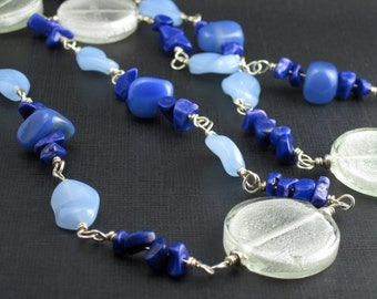 Sterling Silver Neckace Agate, Howlite, & Glass Necklace
