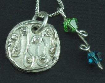 Swirling Fine Silver Necklace Charm and Swarovski Necklace