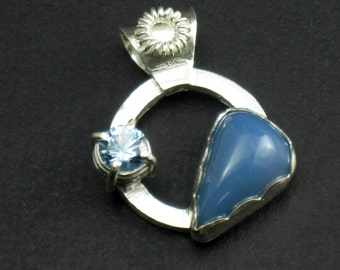 Sterling Silver Pendant Blue Opal and Aquamarine Pendant