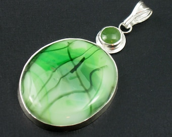 Sterling Silver Pendant Glass and Jade Pendant