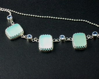 Blue Chalcedony and Aquamarine Necklace Sterling Silver Necklace