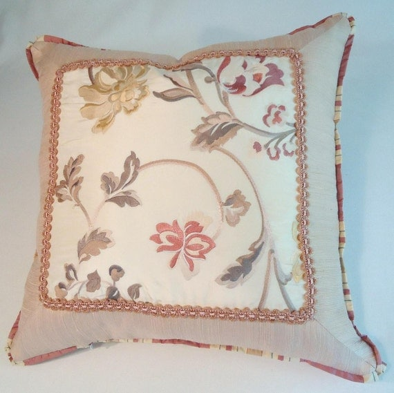 Items similar to Embroidered silk taffeta pillows throw pillow living room bedroom shabby chic ...