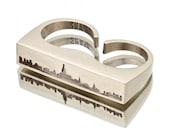 New York City SKYLINE OUTLINE Ring - White Bronze NYC Unisex Double Finger