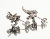 TRICERETOPS HALFSIES - Dinosaur Stud Earrings in Antique Silver