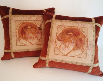 039 Pair of Pillows Embroidered with Oriental Fish Images