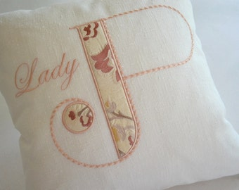 enbroidered applique monogram pillow white linen pink custom design exclusive embroidered silk
