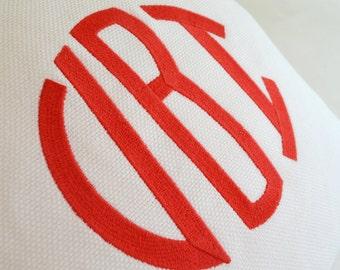 monogram custom embroidered pillow white cotton twill - linen - sunbrella