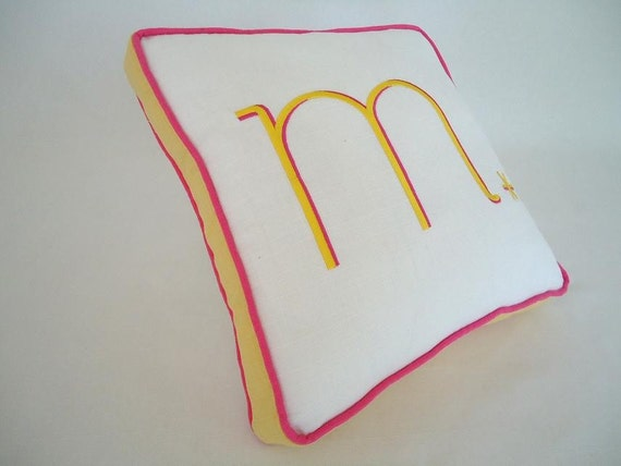 embroider monogram pillow children babies adult nursery bedroom cotton white colors