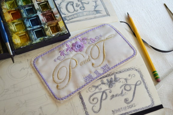 Custom Embroidered Wedding Dress Label French Silk Satin and Lavender with Gold Thread