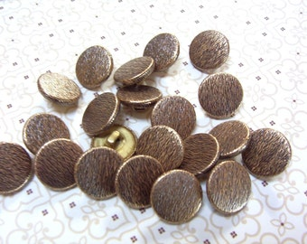 Rustic Gold Two Piece Metal Buttons with Antiquing and Grooves (162)