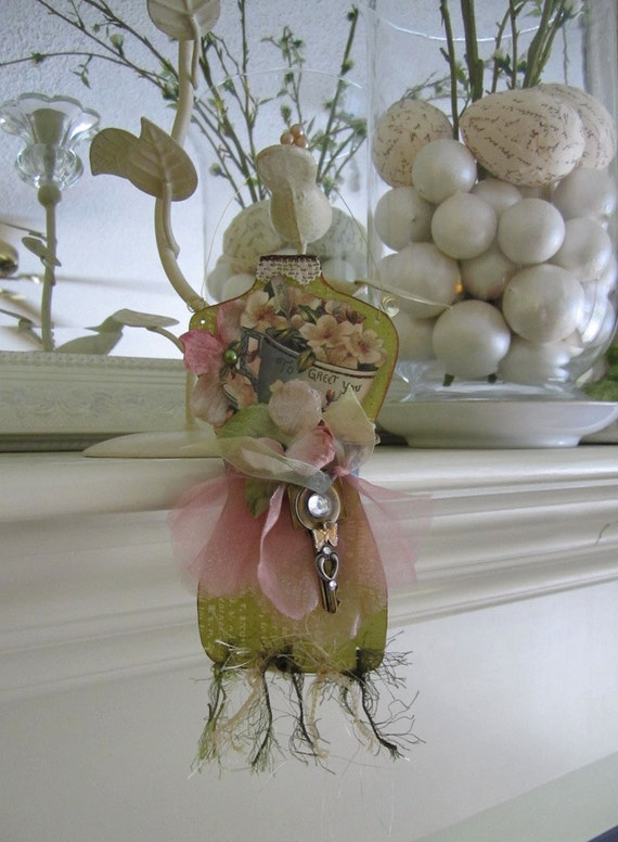 Paper Mannequin Ornament - Victorian Altered Key Decoration - Shabby Chic Ornament