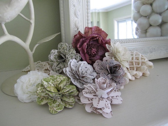 Paper Flowers - Decorative Craft Flowers (set of 6)