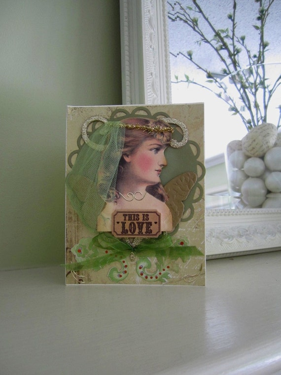Wedding Card - Handmade Card for Bride - Vintage Bride Card - Love Card