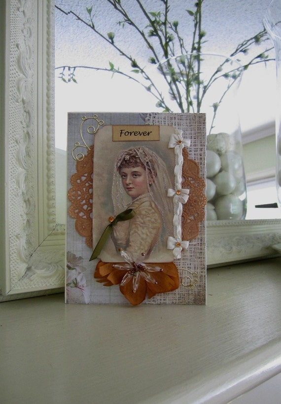 Victorian Wedding Card - Handmade Vintage Style Wedding - Victorian Bride