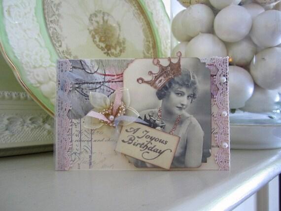 Vintage Inspired Birthday Card - Vintage Lady Card