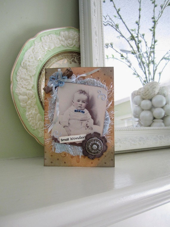 Baby Boy Card - Welcome New Baby - Vintage Style Baby Card - New Mom Card