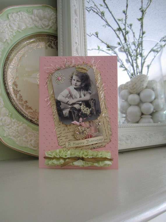 Pink Birthday Card - Embossed Card - Vintage-inspired Card - 3d Card
