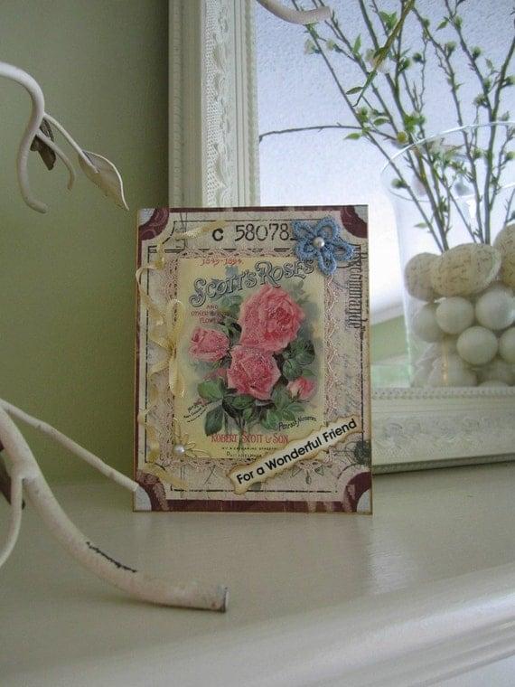 Friendship Card - Wonderful Friend - Vintage Rose Card for Friend