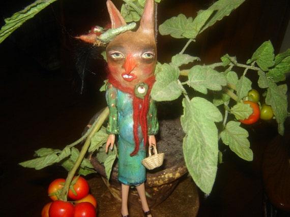 Folk Art Doll Pregnant Easter Bunny