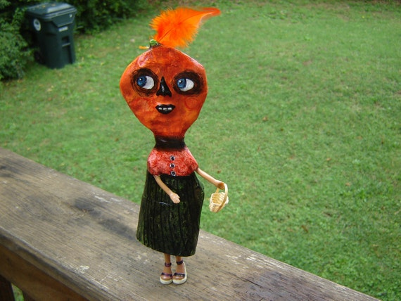 Folk art SALE Pumpkin girl art doll halloween doll ornament