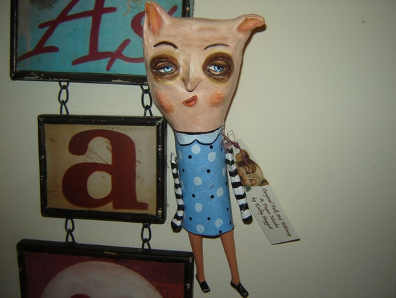 Folk Art Doll paper clay ornament doll