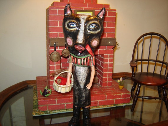 Folk art big bad wolf doll and reds severed head