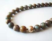 Geologic Marble Necklace - Blue Brown Swirl Serpentine