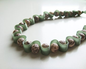 Short Accordion Necklace - Sage Green Grosgrain Ribbon and Salwag Seed