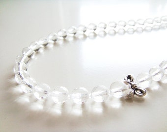 Afternoon Tea Necklace - Clear Glass and Silver Ribbon