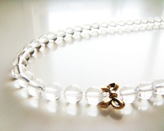 Garden Tea Necklace - Clear Quartz and Gold Ribbon
