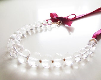 Wine Tasting Necklace - Clear Crystal, Grosgrain Ribbon