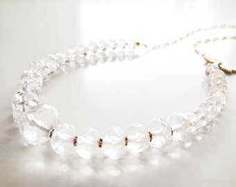 World Traveler Necklace - Clear Crystal, Gold
