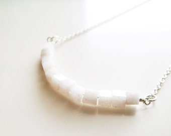 Cubism Necklace - White Jade