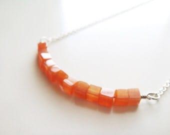 Cubism Necklace - Orange Aventurine