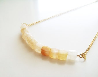 Cubism Necklace - Yellow Jade
