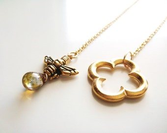Honey and Clover Necklace - Gold