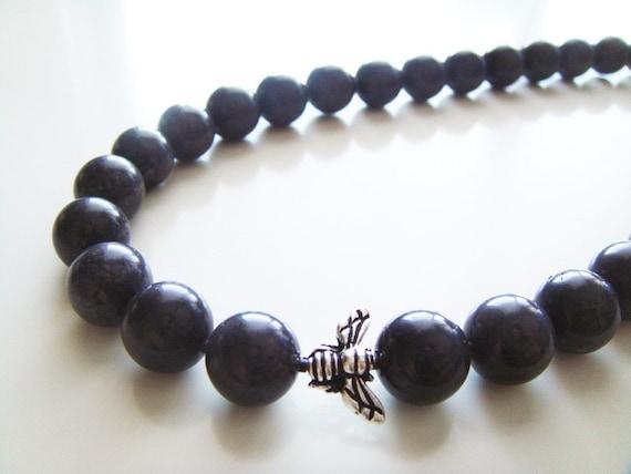 Stone Granite Necklace - Dark Gray Serpentine and Silver Honey Bee