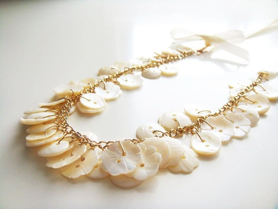 Cute as an Ivory Button Necklace - Sea Shell Buttons, Grosgrain Ribbon