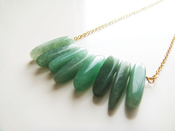 Emerald Crystals Necklace - Green Aventurine