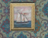 Hand Painted Folk Art Nautical Ship Painting with Hand Guilt Gold Leaf Frame