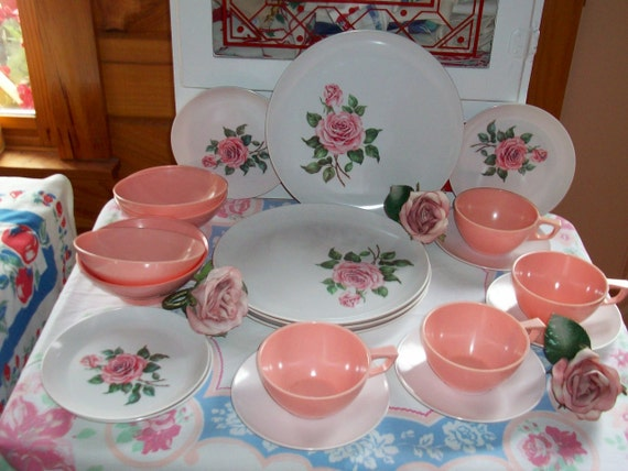 reserve for isabelle Melmac Roses Pink Service for four dishes dinnerware   EX Vintage Sun Valley Georgous vintage510 code 15% off