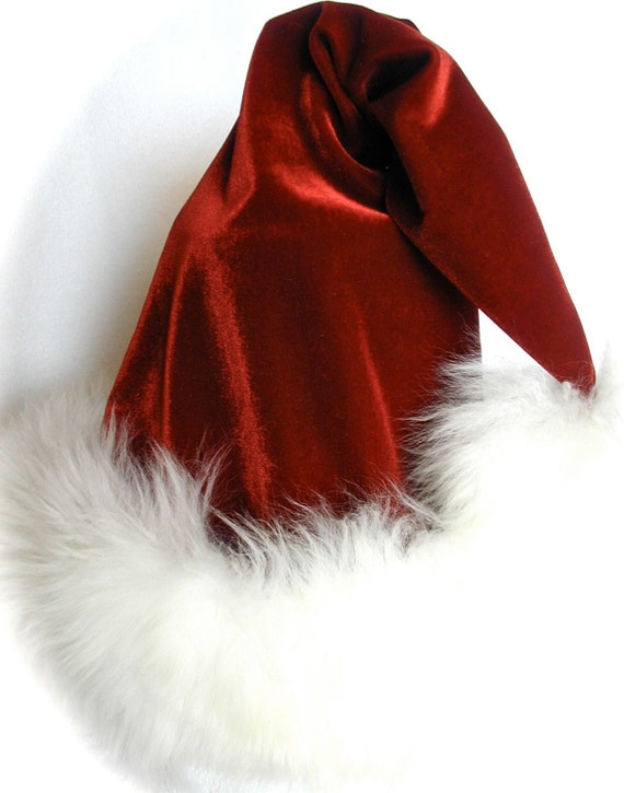 Luxury Santa Hat in Red Velvet, Fur and Swarovski crystal, reversible