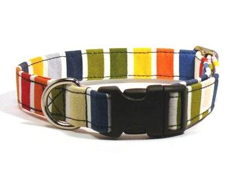Colourful striped dog collar - Happy pet collar - Rainbow striped dog collar - Happy colorful striped adjustable dog collar