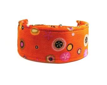 Orange dog collar - Wide pet collar - Greyhound collar - Metal buckle dog collar - Orange patterned greyhound / whippet collar - 2 inch wide