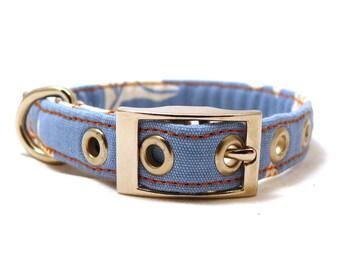 Blue dog collar - Metal buckle pet collar - Strong collar - Sun among the clouds adjustable XS / S / puppy dog collar with metal buckle