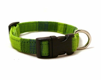 Green wide striped adjustable XS / puppy dog collar